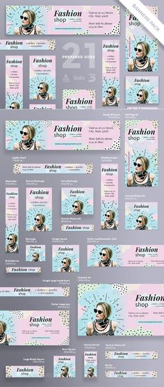 Fashion Shop Banner Pack - Banners & Ads Web Elements Source by Fashion banner Web Design, Food Graphic Design, Design Ideas, Banner Site, Banner Vertical, Design Youtube, Youtube Banner Design, Shop Banner Design, Google Banner