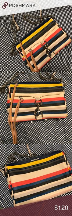 """Rebecca Minkoff Mini Mac Crossbody Leather exterior and trim Black hardware Front flap with snap closure 1 Front zip exterior pocket, 1 back zip pocket Cotton twill interior lining 1 Interior slip pocket 7""""W x 5""""H x 1.5""""D 23"""" Strap Rebecca Minkoff Bags Crossbody Bags"""