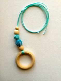 Teething Necklace, Nursing Necklace, Babywearing, Two-tone Turquoise Crochet Bead & Wood Ring with Ribbon