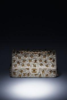Sac classique, jersey, broderies farfalle Lesage & métal finition bronze-ivoire & doré - CHANEL