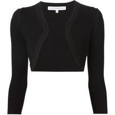 Carolina Herrera fine knit bolero (1,400,155 KRW) ❤ liked on Polyvore featuring outerwear, jackets, black, black bolero, carolina herrera, black jacket, bolero jacket and carolina herrera jacket