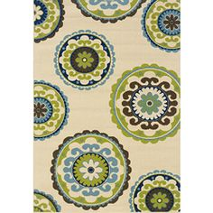 This Ivory & Blue Medallion Hyrcania Indoor/Outdoor Rug by Oriental Weavers is perfect! Indoor Outdoor Carpet, Indoor Outdoor Area Rugs, Outdoor Living, Outdoor Spaces, Outdoor Ideas, Outdoor Decor, Outdoor Stuff, Tropical Area Rugs, Coastal Area Rugs