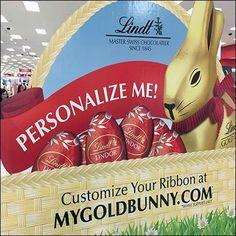 This Lindt Personalized Easter Bunny Promotion encourages you to go beyond just giving any-old gold-foil-wrapped, chocolate Easter Bunny. Easter Candy, Easter Eggs, All Candy, Chocolate Easter Bunny, Candy Display, Candy Store, Just Giving, Promotion, Encouragement