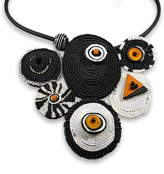 Fiber Jewelry | Sandy Swirnoff Design. She has many pieces that are wonderful, but this one is trying to speak to me. Somehow.