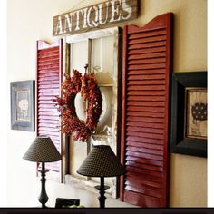 Paint old shutters and use them for wall decor in front entry. Put a mirror in the window frame. Window Frame Decor, Shutter Decor, Rustic Window Decor, Display Window, Room Window, Rustic Window Frame, Shelf Display, Window Hanging, Deco Champetre