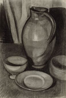 uan Gris (1887-1927)  Nature morte à la cruche  signed and dated 'Victoriano Gonzalez 1910' (on the reverse)  charcoal with white heightening on paper  19 x 12 3/8 in. (48.3 x 31.4 cm.)  Drawn in 1910