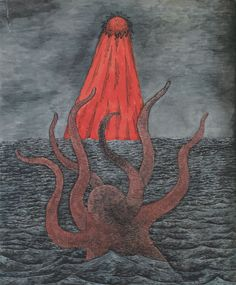 Edward Gorey, back-cover illustration for The Beast under the Wizard's Bridge (Dial hardcover).