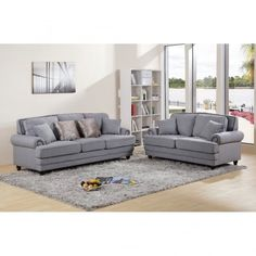 Chic My Room contemporary Nicole upholstered suite 3+2 sofa settee grey neutral comfortable living room seating.