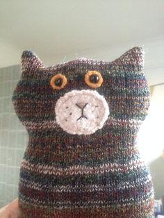 Flat Cat soft toy handmade recycled woollen kitten by raggyrat