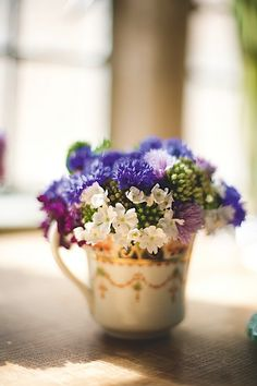 Floral arrangement in a teacup