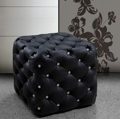 Black Leather Ottoman Pouf Tufted Style On Silver Marble Flooring Tile Is Great…