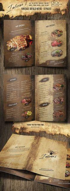 Infernos Vintage Bifold Menu - and US Letter - 6 pgs - Food Menus Print Templates - Visuelles fest Cafe Menu Design, Menu Card Design, Food Menu Design, Restaurant Menu Design, Rooftop Restaurant, Speisenkarten Designs, Resturant Menu, Brochure Food, Menu Layout