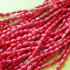 red rice CORAL 1 strand coral beads red beads rice by PalomaBeads