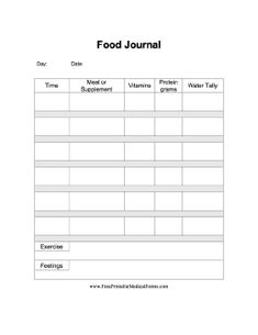A printable food journal specifically for use post-bariatric surgery (weight loss surgery). Free to download and print
