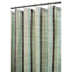 Green Pastel Striped Shower Curtain W Embroidery
