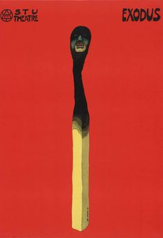 """Jan Sawka, """"Exodus"""", 1974, plakat do przedstawienia """"Exodus"""" wg poematu Leszka A. Moczulskiego, Krakowski Teatr Scena Stu, 98 x 67.8 cm, wł. Muzeum Sztuki Nowoczesnej w Nowym Jorku (MoMA), fot. Muzeum Sztuki Nowoczesnej w Nowym Jorku"""