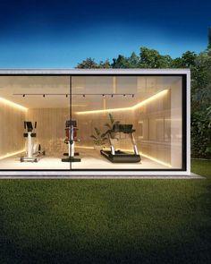 Dream Home Gym, Gym Room At Home, Home Gym Decor, Best Home Gym, Home Gym Design, Dream Home Design, Modern House Design, Backyard Gym, Gym Lighting