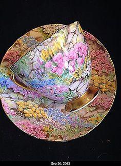 Shelley Rock Garden Gold Chintz Ripon Bone China Tea Cup And Saucer Mint