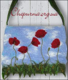 Felted bag Poppies by chepurna on Etsy