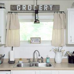 #homeongrassyroad farmhouse kitchen , drop cloth curtains , shiplap backsplash