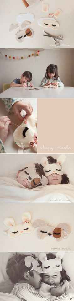 DIY sleep masks for the kiddos Diy With Kids, Sewing Crafts, Sewing Projects, Activities For Kids, Crafts For Kids, Sleep Mask, Diy Projects To Try, Felt Crafts, Diy Gifts