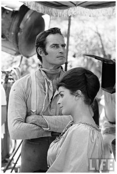MAJOR DUNDEE - Senta Berger & Charlton Heston on location in Mexico - Directed by Sam Peckinpah - Columbia Pictures - LIFE magazine.