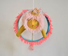 Pink Mane Lion Jumping Through a Hot Pink Fringe Hoop Pink Cheeks, Baby Cribs, Kids Bedroom, Dream Catcher, Hoop, Hot Pink, Bedrooms, Nursery, Handmade