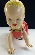 Antique Wind-Up Plastic & Tin Crawling Baby Doll, Works Well, 2 Original Outfits