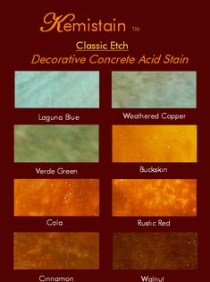 Acid stained concrete is getting more and more popular due to its distinctive look and custom appearances. Also, stained concrete is great for allergies. Unlike tile there is no grout to stain with high traffic or soiled conditions. Acid Stained Concrete, Painted Concrete Floors, Concrete Cement, Painting Concrete, Decorative Concrete, Plywood Floors, Concrete Countertops, Laminate Flooring, Porches