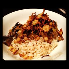 Grilled Zucchini, Mushroom Curry with Chickpeas and Coconut Brown Rice