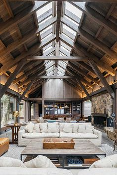Chalet Interior, Steel Trusses, Casa Loft, Mini Loft, Interior Decorating, Interior Design, River House, Wood Construction, Ceiling Design