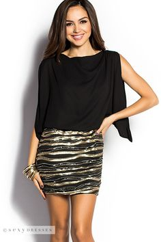 Draped Blouson Style Black and Gold Sequin Party Dress with Open Back