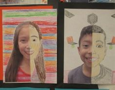 Symmetrical self-portraits - great idea for teaching symmetry and measurement. Excellent step-by-step instructions.