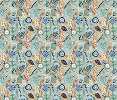 Mid-Century Microscopic Marvels fabric by slumbermonkey on Spoonflower - custom fabric