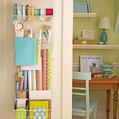 wrapping supplies organized