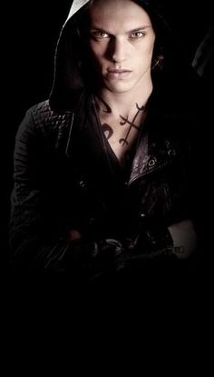 Jamie Campbell Bower, as Jace Wayland, in The Mortal Instruments - my God, the way he wears that hood....