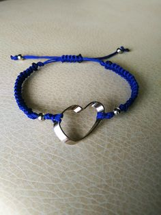 Blue and silver heart handmade macrame bracelet