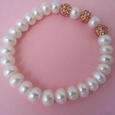 Pulsera de perlas cultivadas y circonitas