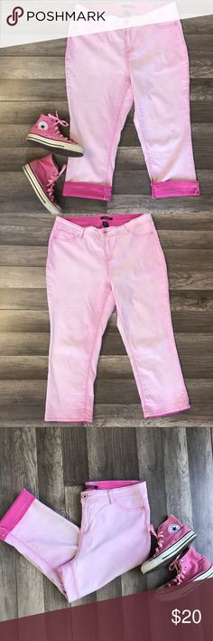 "NWOT Roz & Ali Pink Boyfriend Jeans NWOT   Roz & Ali  Pink boyfriend Jeans  Capri with option to cuff  Super soft comfort  Originally $39.00  Measurements- 38"" W 26"" Length   This is from my actors prop wardrobe closet   Brand new and not used. I'm a professional makeup artist and wardrobe stylist for film. Come follow my antics on instagram under my company bombshellfactory. Roz & Ali Jeans Boyfriend"