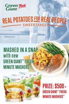 Real Potatoes for Real People Sweepstakes! Enter daily during the month of July for your chance to WIN $500 + *NEW* Minute Mashers™ Potatoes from Klondike Brands by Green Giant™ Fresh! Netflix Hacks, Fresh Potato, All Friends, New Green, Real People, Stuffed Peppers, Winner Winner, Free Items, Cooking