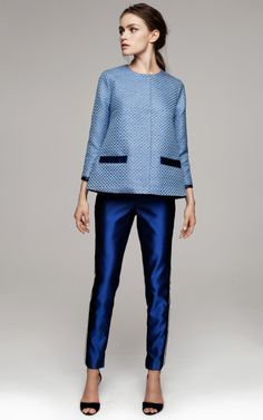 Blue Trousers With White Vertical Side Stripes by Kalmanovich for Preorder on Moda Operandi
