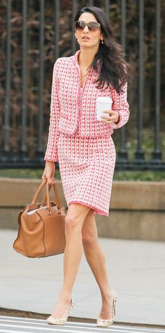 9-to-5 Celebrity-Inspired Fashion Formulas to Wear to Work This Week - MONDAY: Tweedy Skirt Suit Pointed Pumps from InStyle.com