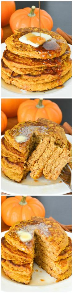 Pumpkin Oatmeal Pancakes - These hearty pancakes are packed with pumpkin, oatmeal and whole wheat. They'll keep you full throughout these chilly fall mornings! (desserts with oats pumpkin pies) Pumpkin Recipes, Fall Recipes, Sweet Recipes, Whole Food Recipes, Cooking Recipes, Healthy Cooking, Pumpkin Oatmeal, Pumpkin Spice, Pumpkin Pumpkin
