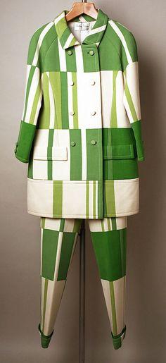 """Wool pantsuit by Mila Schön, Italian, 1968-69. Label: """"Mila Schön"""""""