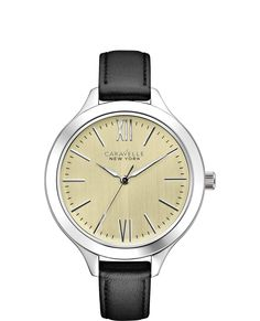 Ladies Caravelle by New York Genuine Black Leather Strap Watch. Designed in New York, Made by Bulova. Parker Jewelers. Salem, NJ. (856) 935-3400.