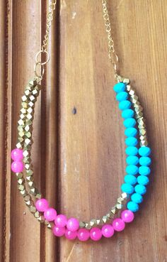 Layered Gemstone Statement Asymmetric Necklace Pink by JewelrybyRJ, $32.99