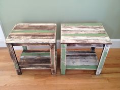 Hand-made, distressed-antiqued-weathered wood end tables. Butter-white and faded green wood pieces, solid and sturdy.. $250.00, via Etsy.
