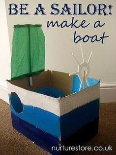 a sailor : make a boat! How to make a simple cardboard box boat craft - junk model boatHow to make a simple cardboard box boat craft - junk model boat Pirate Activities, Craft Activities, Toddler Activities, Pirate Games, Boat Crafts, Pirate Crafts, Make A Boat, Build Your Own Boat, Diy Boat