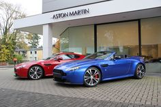 V12 Vantage, in coupe and roadster, in red and blue  http://www.aston-martin.com/2012/11/08/agent-002-has-arrived-at-my-dealer/