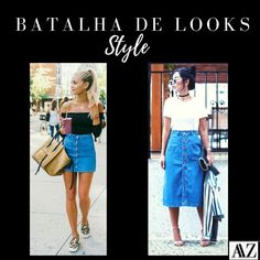 BATALHA DE LOOKS  SAIA MINI X SAIA MIDI Waist Skirt, High Waisted Skirt, Looks Style, Denim Skirt, Photo And Video, Mini, Skirts, Fashion, Battle